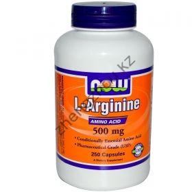 Аргинин L-Arginine 500 mg  NOW (100 капсул)
